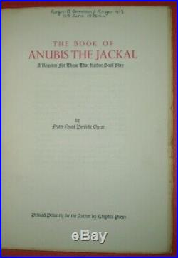 1 of 83, 1st, 1975, THE BOOK OF ANUBIS THE JACKAL, FRATER QPO, THELEMA, CROWLEY