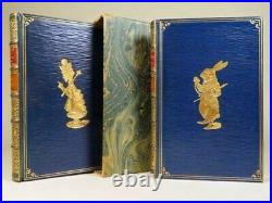 1924 Alice In Wonderland Through The Looking Glass Lewis Carroll Leather 2 Books