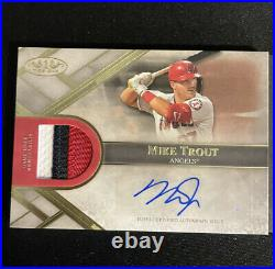 2021 topps tier one dual auto relic book card 05/10 mike trout shohei ohtani