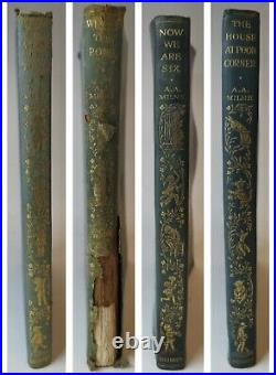 4 x A. A Milne Books Winnie The Pooh FIRST EDITIONS! Deluxe Leather Bindings Set