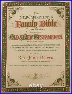 Antique Self interpreting Family Bible Rev John Brown c1800s collectors book