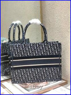 Christian Dior Book Tote Small Bag Blue Canvas Embroidery For Women