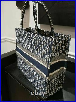 Christian Dior Small Book Tote Bag Blue Oblique Embroidery Womens Authentic
