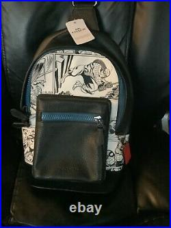 Coach Marvel Comic Book Print West Sling Pack Black Leather Backpack NWT $350