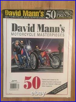 DAVID MANN (4) RARE SEALED BOOKS, 50 Magnificent Works of Motorcycle Art MAGAZINE