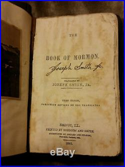 Lds The Book Of Mormon Leather Bound 1840 Nauvoo First Edition Reproduction