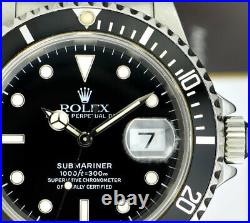 ROLEX Mens Vintage Stainless Submariner Black Dial BOX BOOKS 16610 SANT BLANC