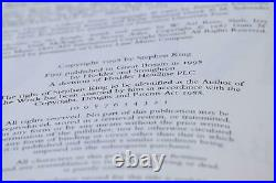 Stephen King Rare Signed AND Numbered Limited Edition Bag Of Bones Hardback Book